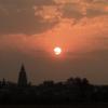 ブッダガヤの彼方に沈む夕陽