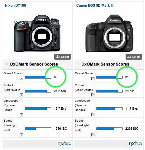 Nikon D7100とCanon EOS 5D Mk3との画質比較