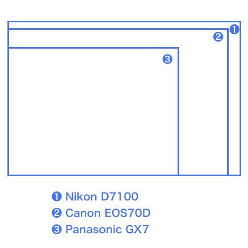 APS-Cとマイクロフォーサーズのセンサーサイズ比較