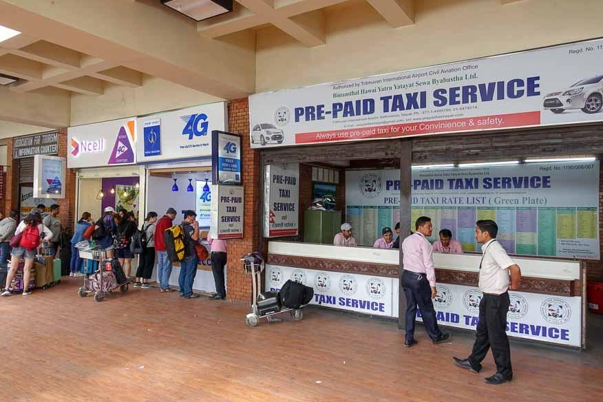 カトマンドゥ空港のSIM販売カウンター