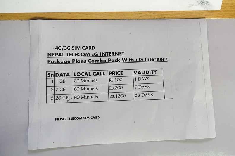 ネパールテレコムの料金表