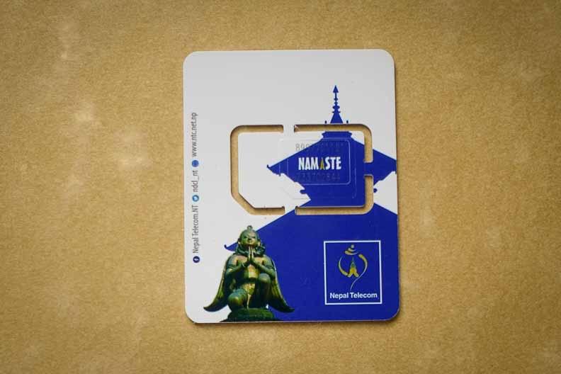 ネパールテレコムのSIMカード