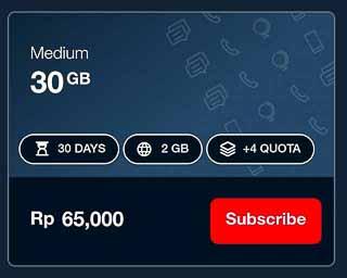 インドネシアのデータ通信のパケット料金表