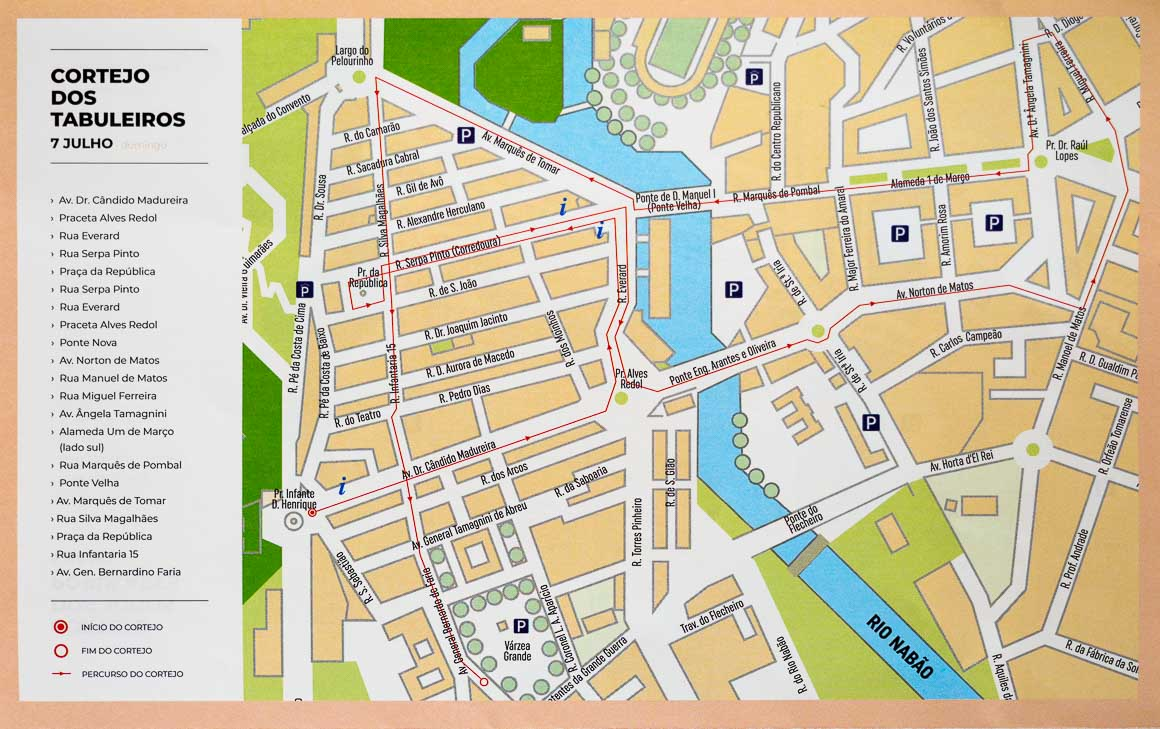 タブレイロス祭の行進のコースの地図