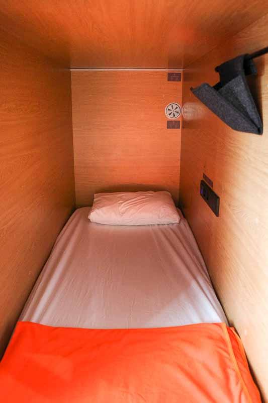 モスクワ空港内のカプセルホテルGettSleepのベッド