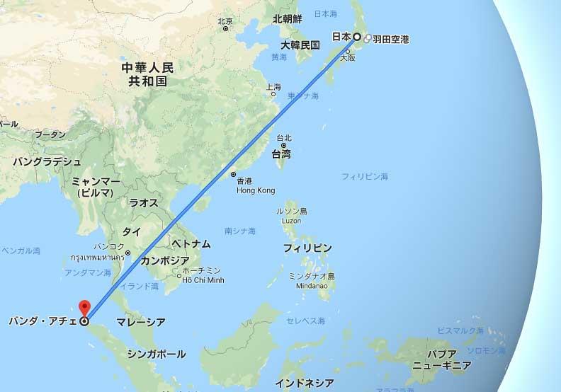 東京羽田空港からバンダアチェ空港へ