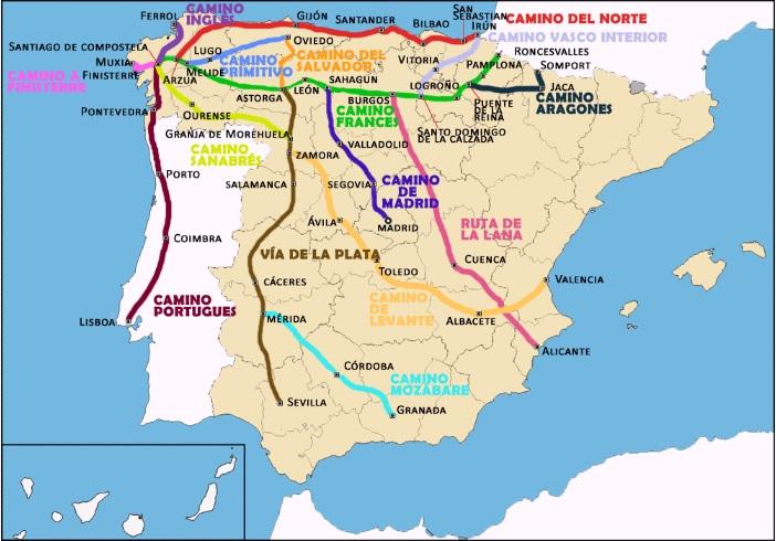 サンティアゴ・デ・コンポステーラの巡礼路が一点に集まる地図は、ホタテの模様に似ている