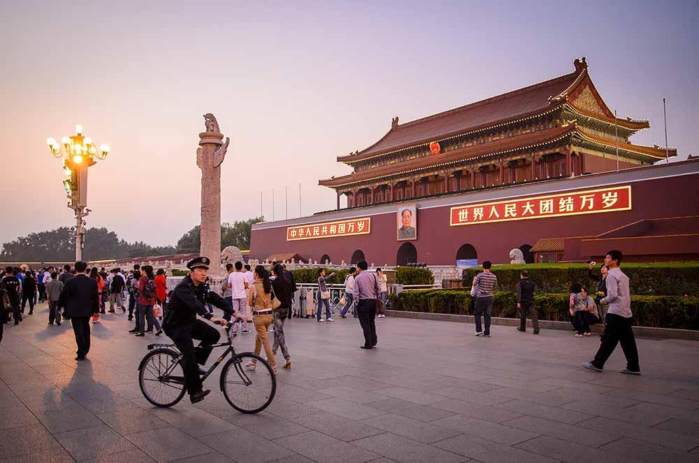 北京の天安門広場の中国人民