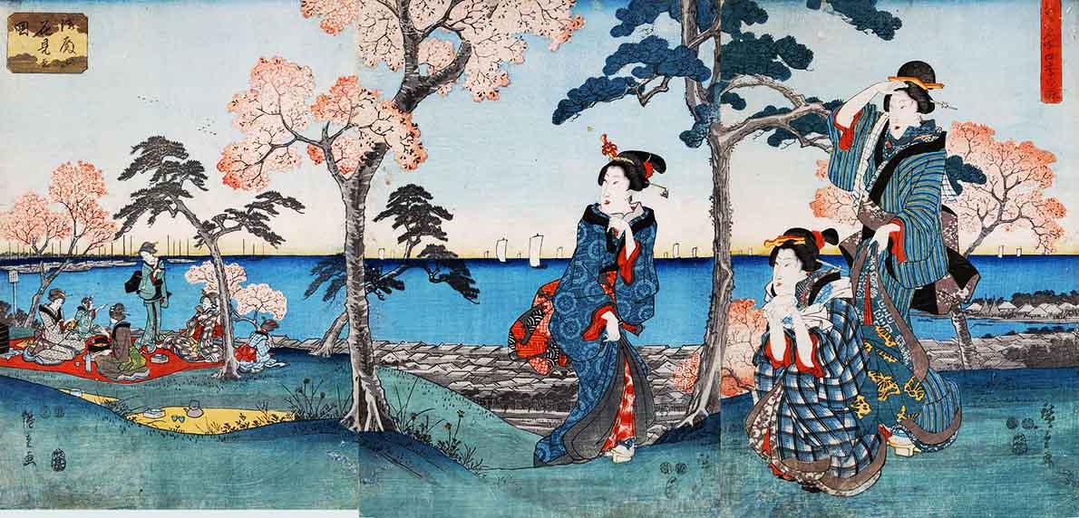 歌川広重が描いた江戸時代の御殿山の桜の花見の浮世絵