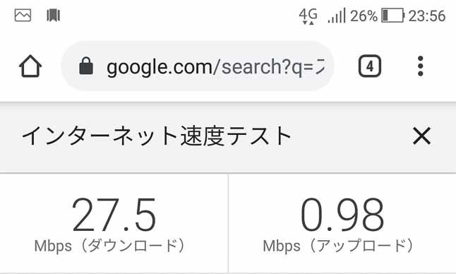Rakuten UN-LIMITデータ通信速度のアップロードとダウンロードの比較