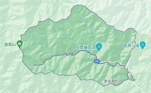 雲取山山麓の地図