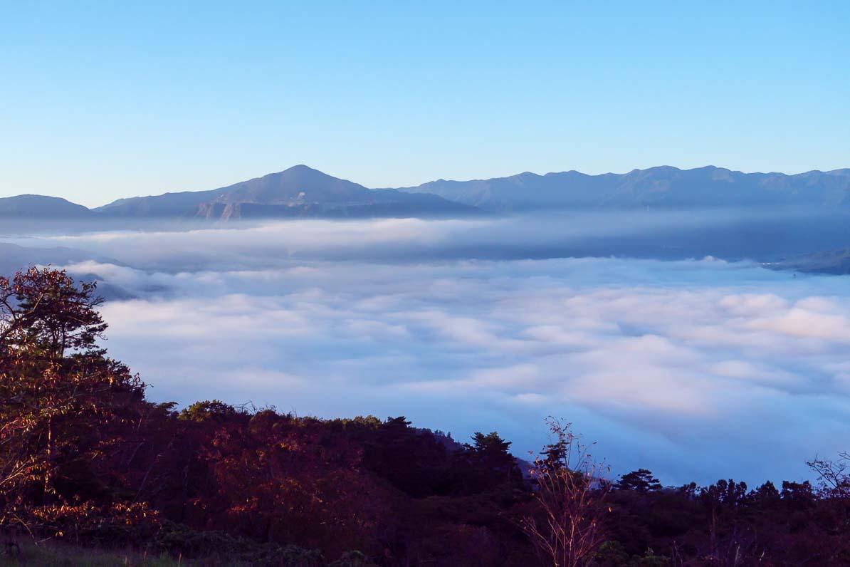秩父市の美の山公園から見た朝日が差しこむ雲海